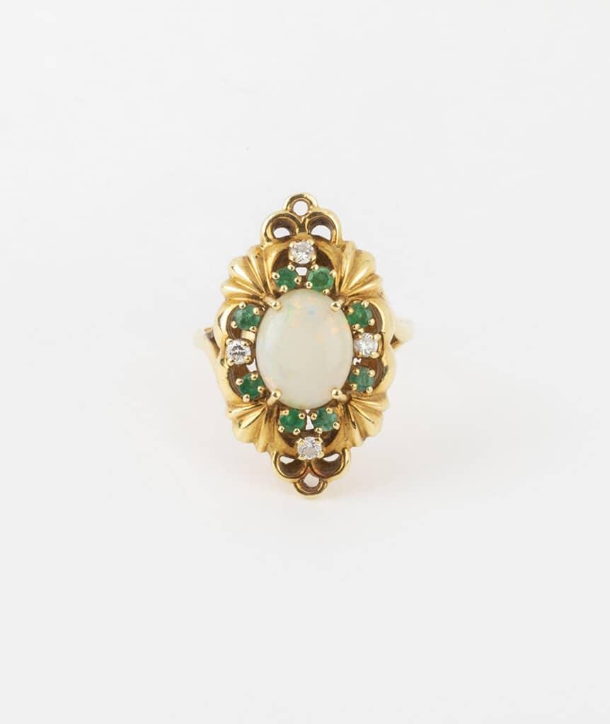 Bague opale et émeraudes