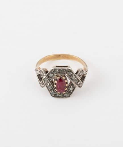 Bague ancienne rubis et diamants