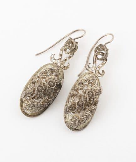 Boucles d'oreilles en filigrane d'argent Bijoux Anciens - Caillou Paris