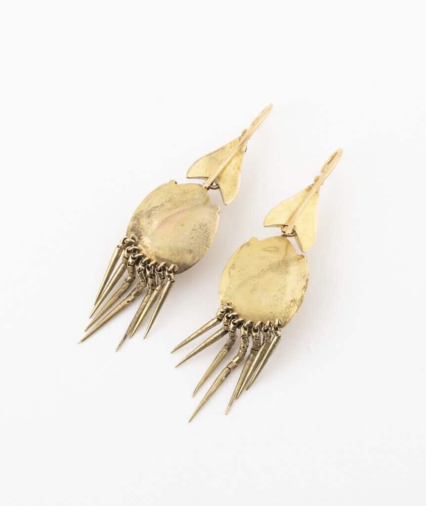 Boucles d'oreilles Napoléon III avec rubis dos