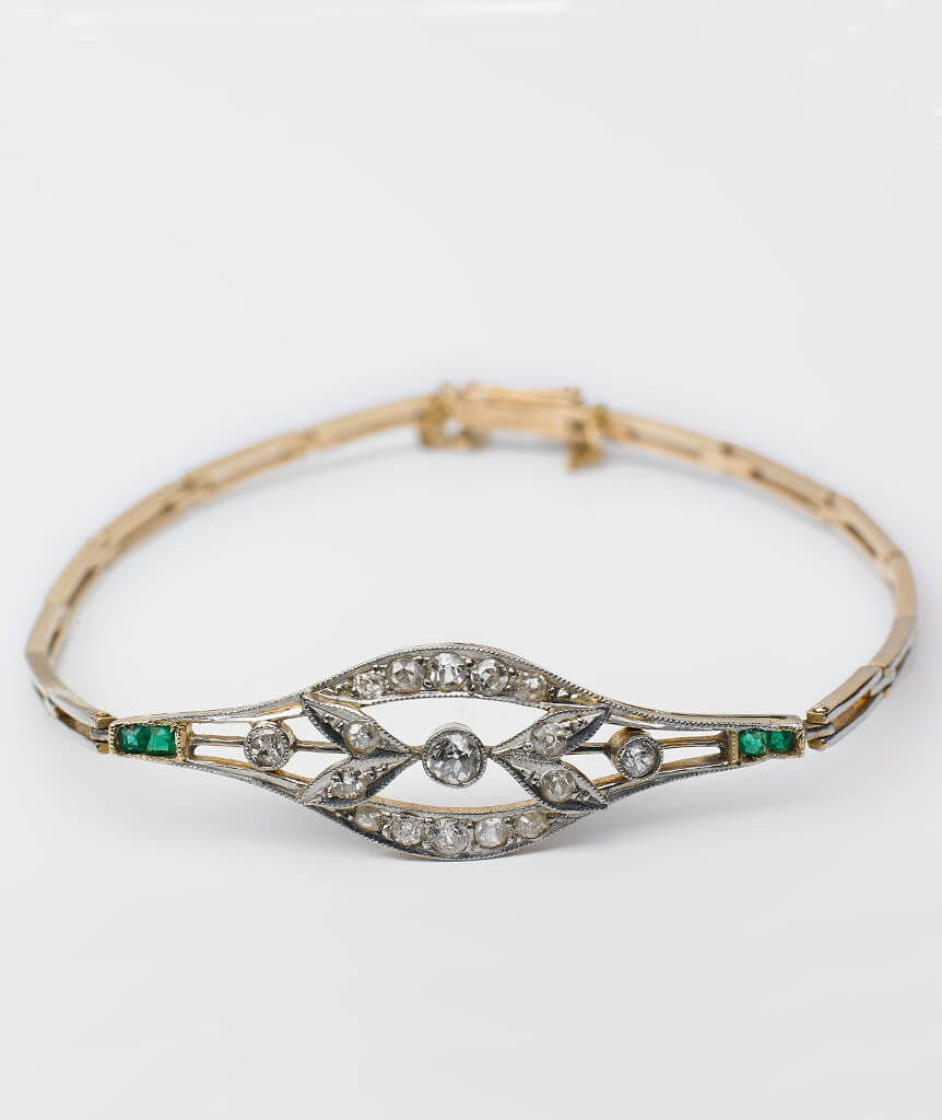 Bracelet Art déco diamants et émeraudes