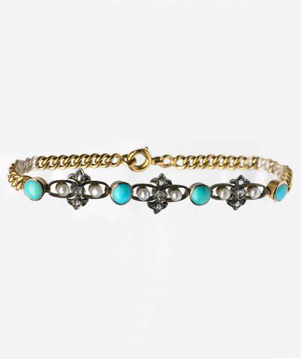 Bracelet turquoises, perles et diamants Perle Bijoux Anciens - Caillou Paris