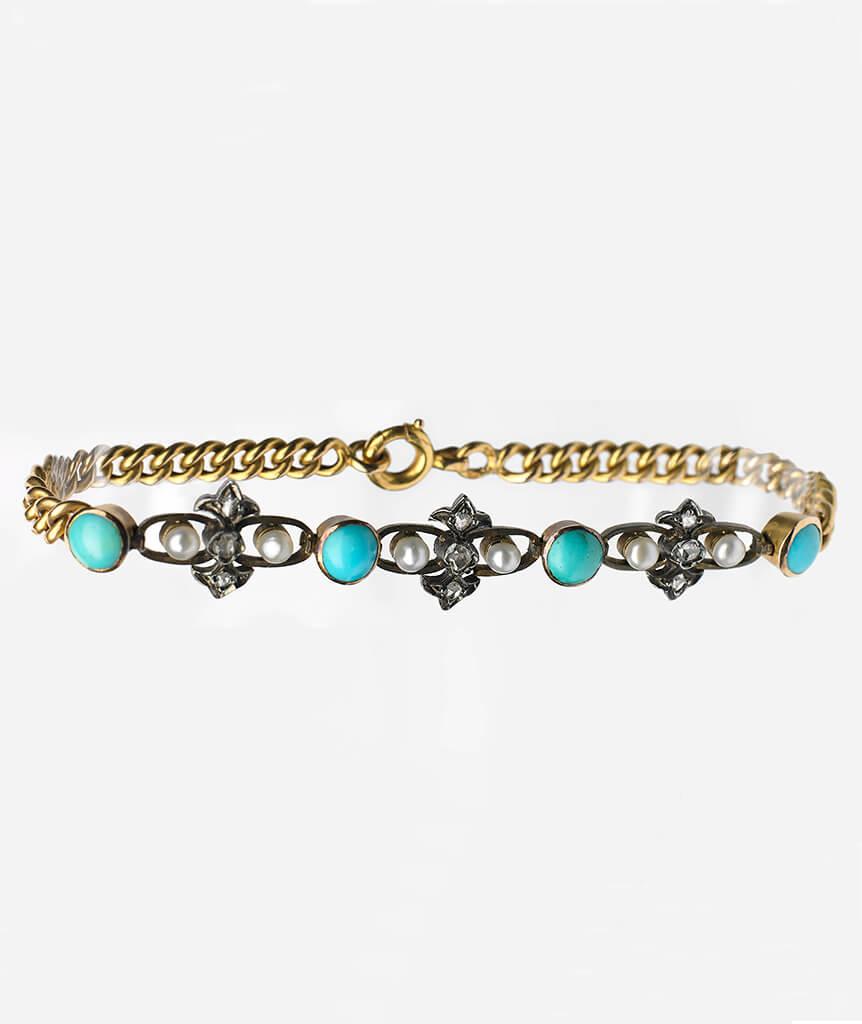Bracelet turquoises, perles et diamants