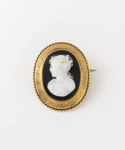 Broche camée agate Agate Bijoux Anciens - Caillou Paris