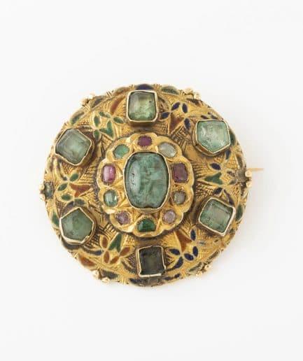 Broche émeraudes et rubis Broche ancienne Émeraude Bijoux Anciens - Caillou Paris