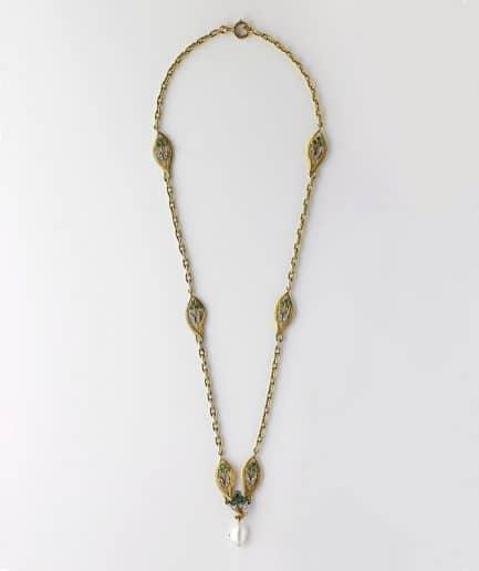 Collier Art nouveau émeraudes et diamants Perle Bijoux Anciens - Caillou Paris
