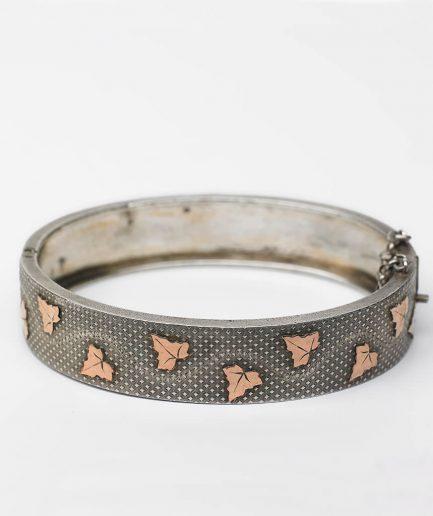 Jonc ovale argent et or rose Bracelet Ancien Argent Bijoux Anciens - Caillou Paris