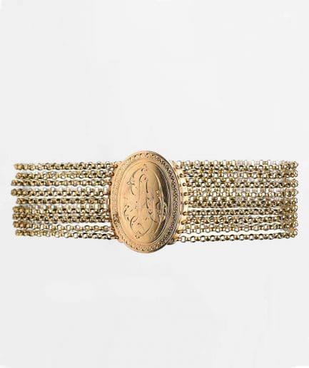 Bracelet manchette Napoléon III avec médaillon Bracelet Ancien Bijoux Anciens - Caillou Paris