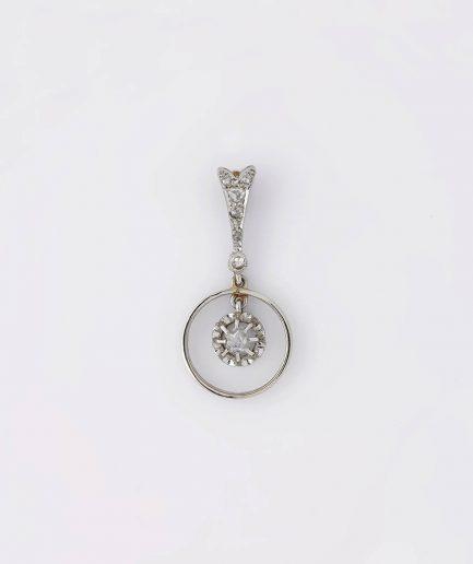 Pendentif or blanc avec diamants Bijoux Anciens - Caillou Paris