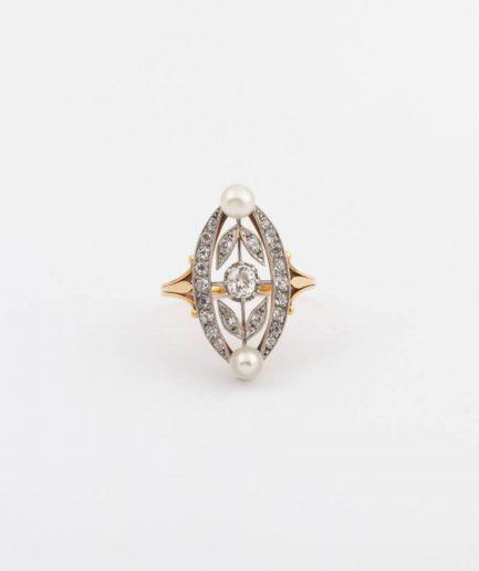 Bague marquise perles et diamants Platine Bijoux Anciens - Caillou Paris