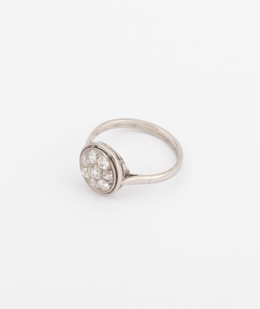 Bague en platine et diamants côté 2