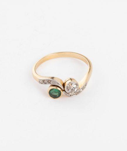 Bague Toi et Moi diamant et émeraude Émeraude Bijoux Anciens - Caillou Paris