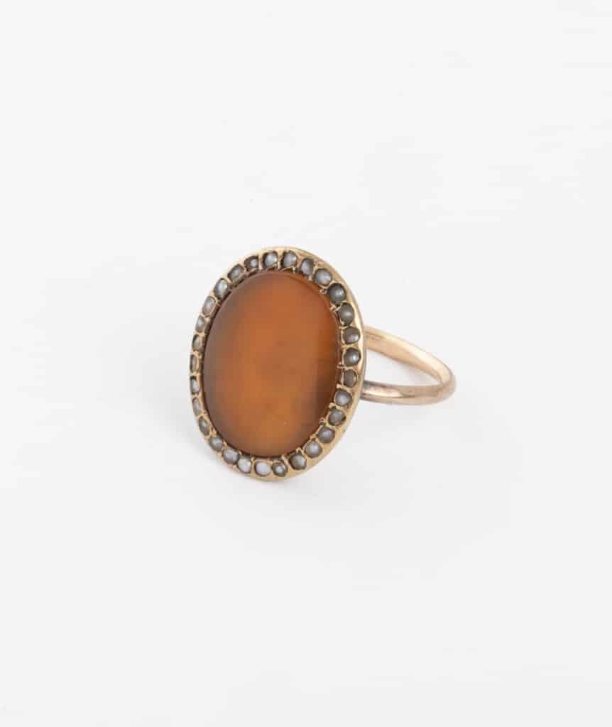 bague ancienne en cornaline et perles