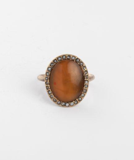 Bague ancienne cornaline et perles Bague Ancienne Fin 19ème siècle Bijoux Anciens - Caillou Paris