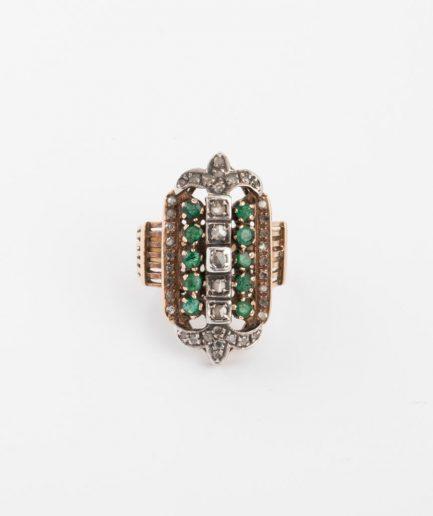 Bague ancienne diamants et émeraudes Émeraude Bijoux Anciens - Caillou Paris