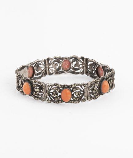 Bracelet ancien marcassites et corail Bracelet Ancien Argent Bijoux Anciens - Caillou Paris
