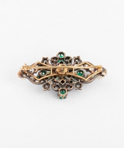 Broche ancienne perles et émeraudes dos