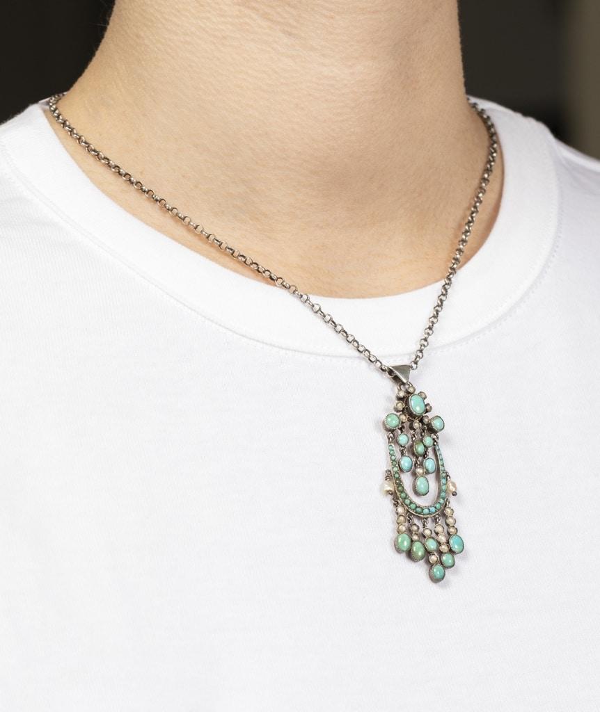 collier ancien argent turquoises