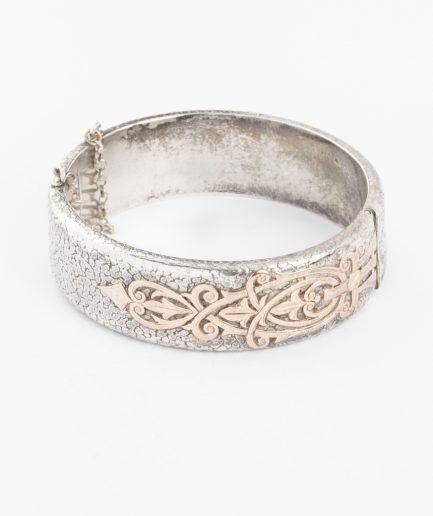 Manchette argent et or rose Bracelet Ancien Bijoux Anciens - Caillou Paris