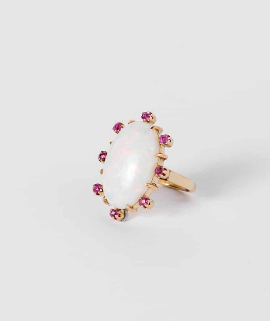 CAILLOU PARIS - Bague opale rubis côté 2