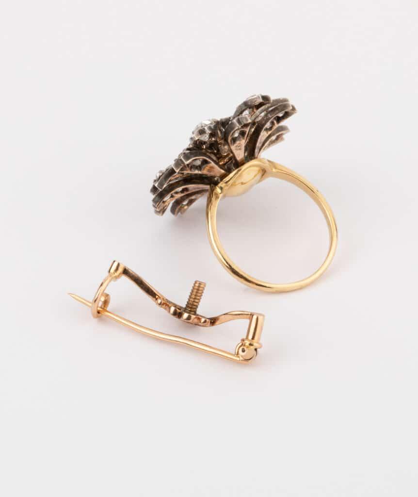 CAILLOU PARIS - bague fleurs diamants avec mécanisme broche
