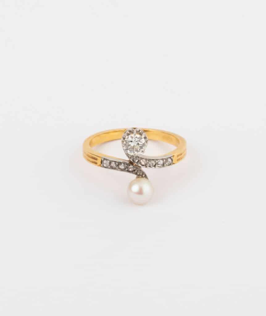 CAILLOU PARIS - bague toi et moi perle et diamants 3