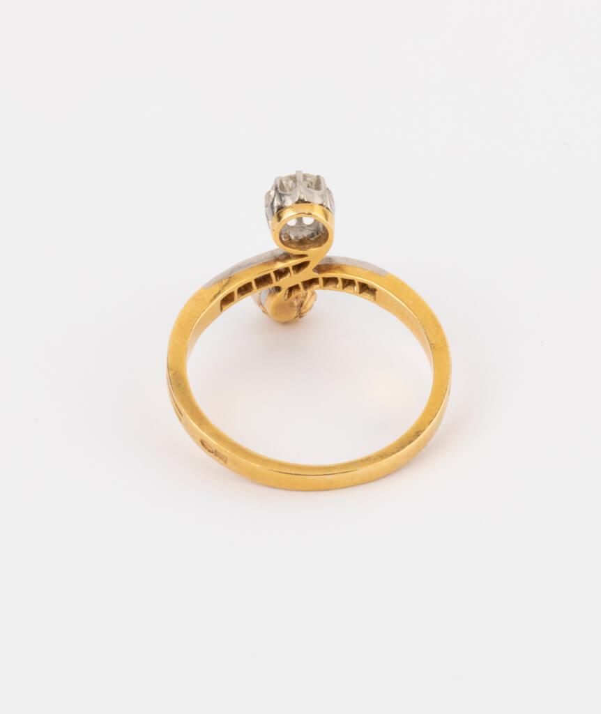 CAILLOU PARIS - bague toi et moi perle et diamants dos 2