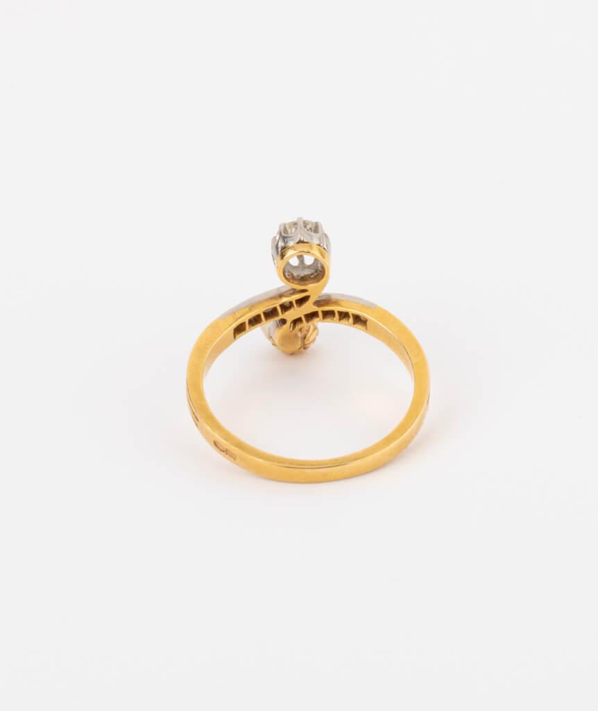 CAILLOU PARIS - bague toi et moi perle et diamants dos