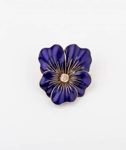 Broche pensée émail bleu Bijoux Anciens - Caillou Paris