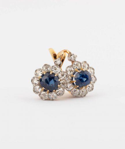 Dormeuses saphirs et diamants Bijoux Anciens - Caillou Paris