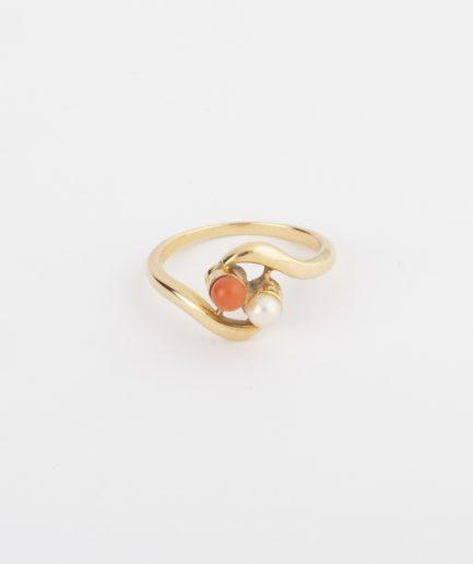 Bague Toi et Moi tourbillon perle et corail product Bijoux Anciens - Caillou Paris