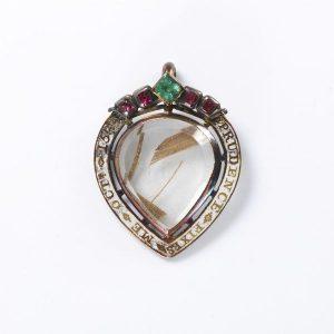 Pendentif coeur avec cheveux 18ème siècle