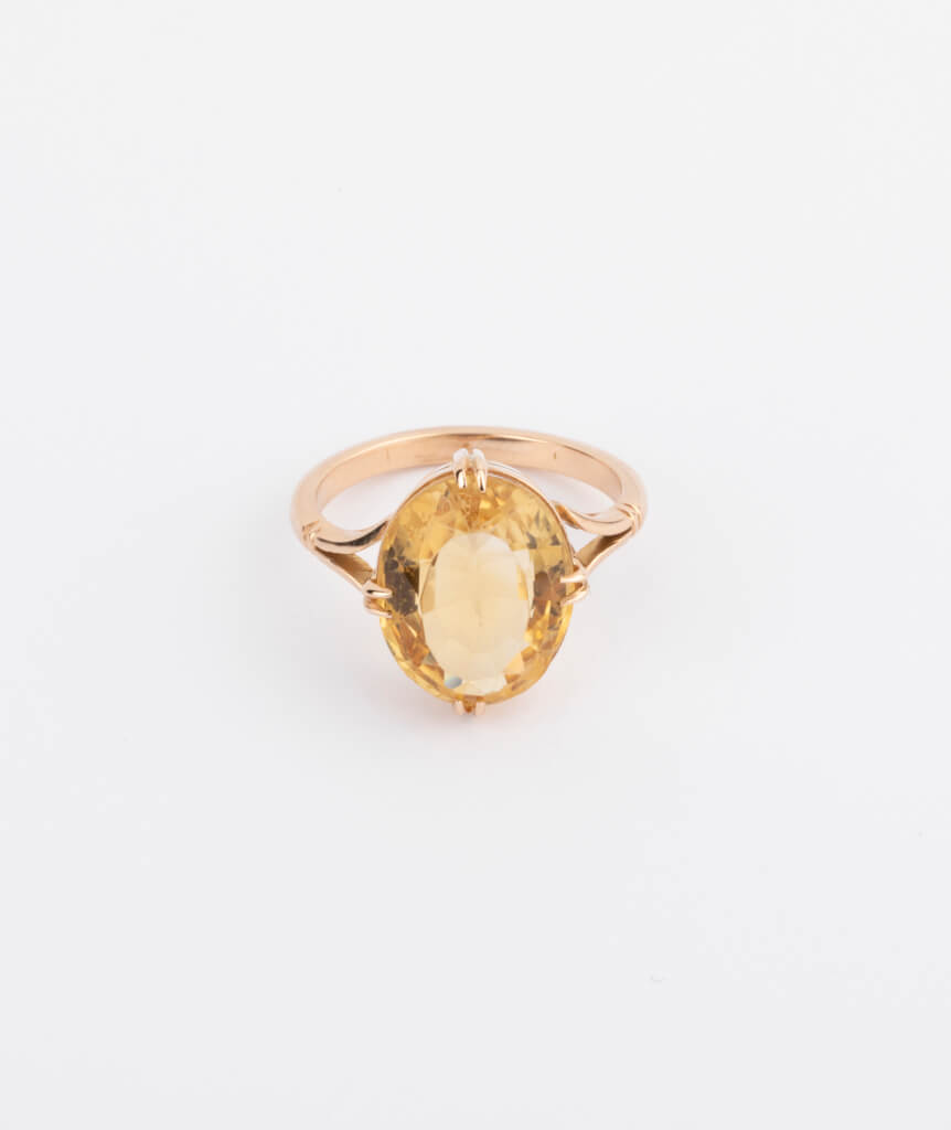 bague citrine ovale