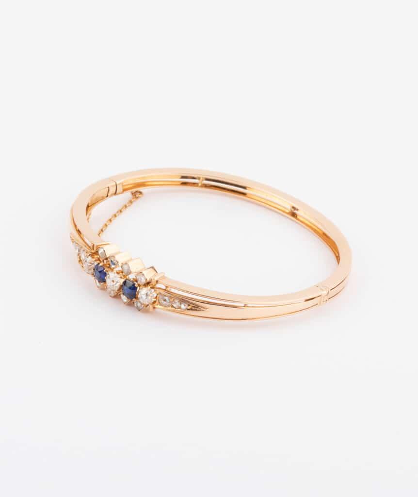 Bracelet ancien diamants et saphirs côté 2