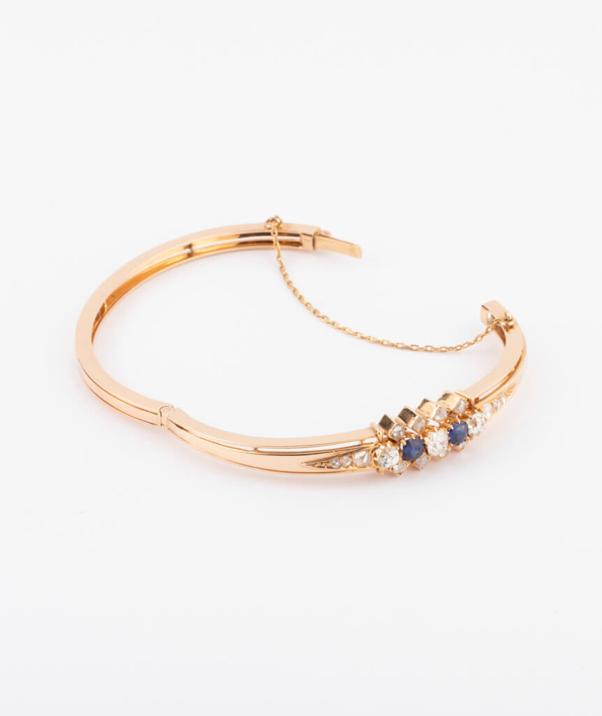 Bracelet ancien diamants et saphirs ouvert