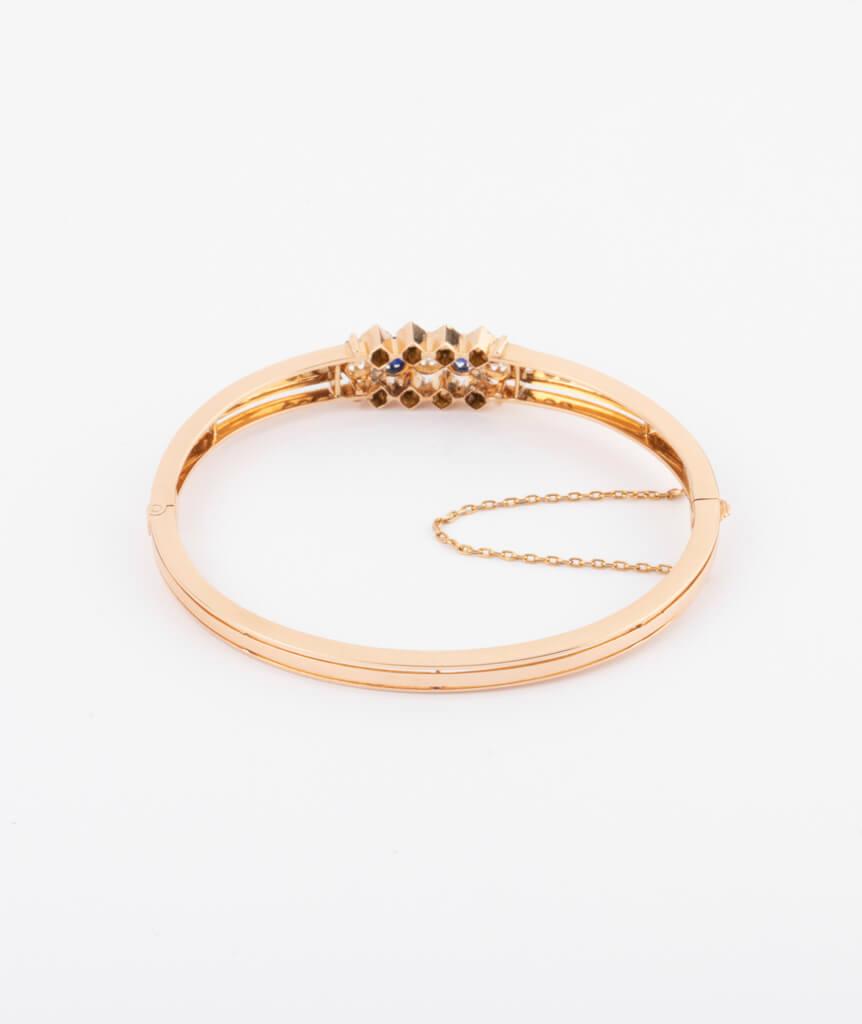 Bracelet ancien diamants et saphirs dos