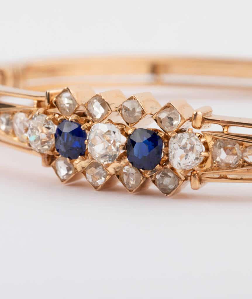 Bracelet ancien diamants et saphirs détail