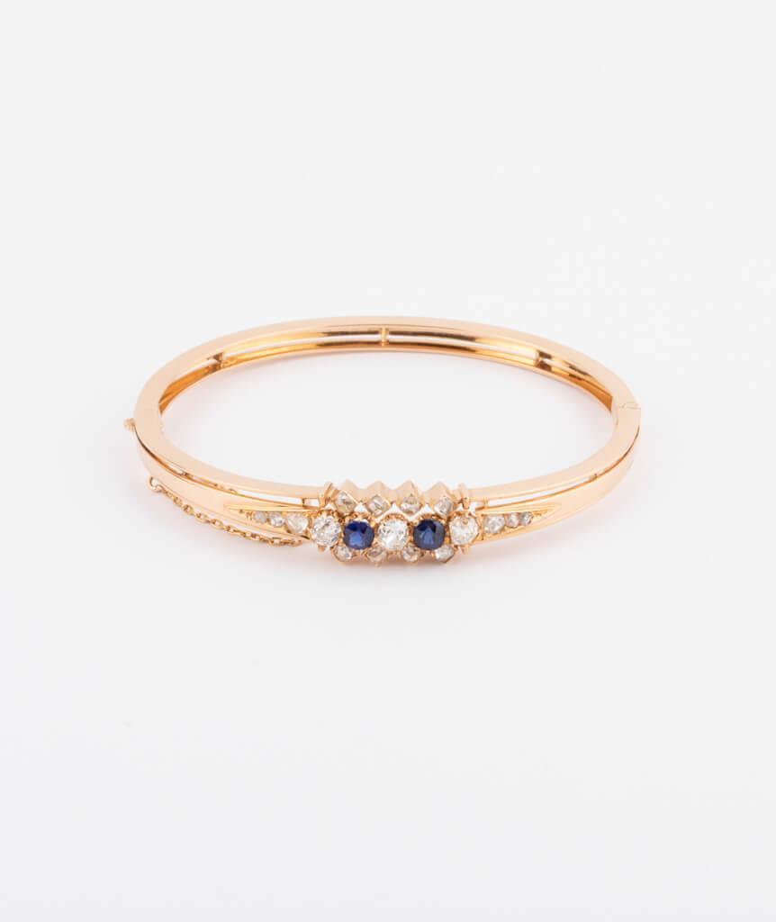 Bracelet ancien diamants et saphirs