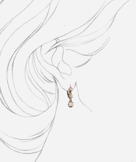 Boucles d'oreilles trembleuses or blanc