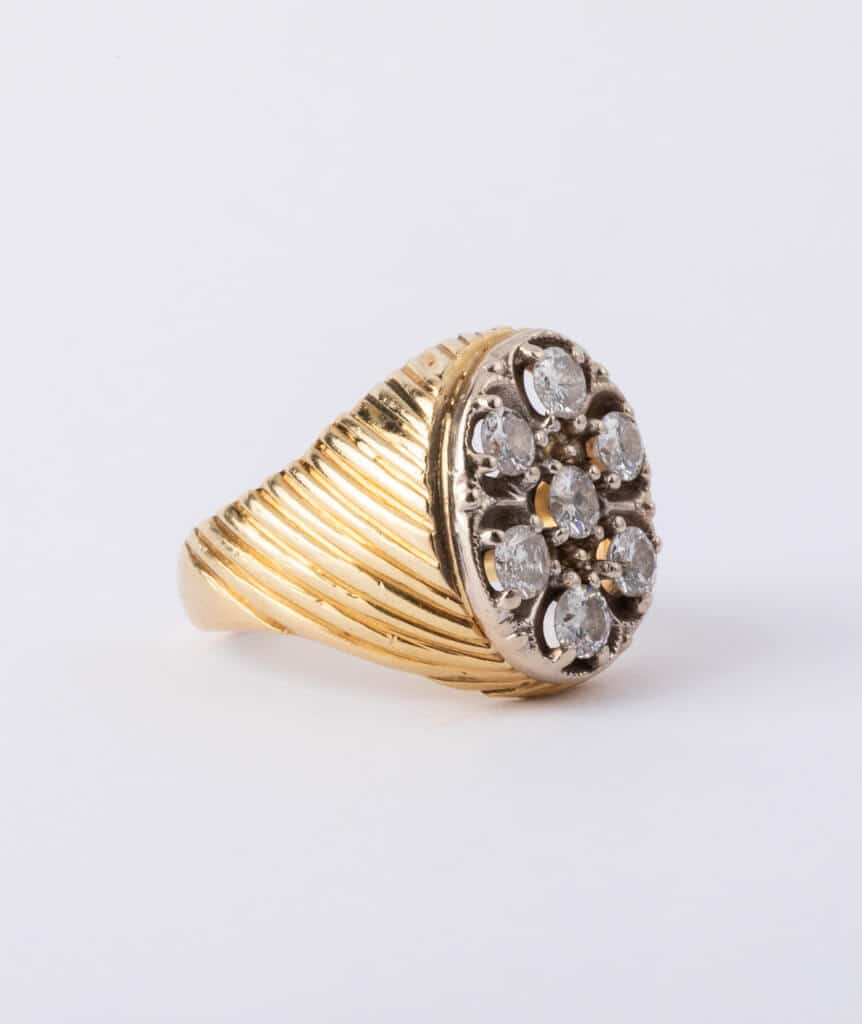 Bague ancienne 7 diamants gauche