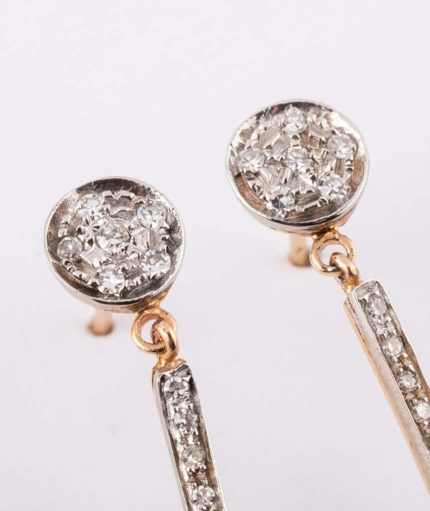 Pendants d'oreilles anciens diamants détail 1