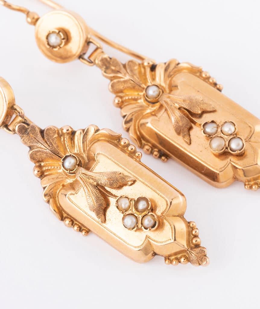 Pendants d'oreilles Napoléon III perles detail