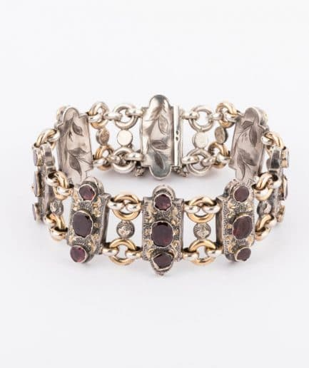 """Bracelet argent """"Granato"""" Bracelet Ancien Grenat Bijoux Anciens - Caillou Paris"""