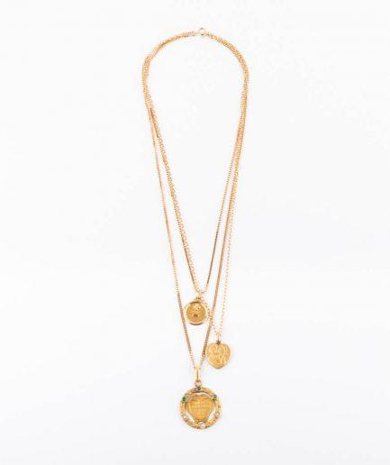 """Collier médailles """"Amore"""" 1940-1950 Bijoux Anciens - Caillou Paris"""
