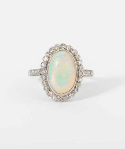"""Bague ancienne opale australienne """"Bubble"""" Bague Ancienne Platine Bijoux Anciens - Caillou Paris"""