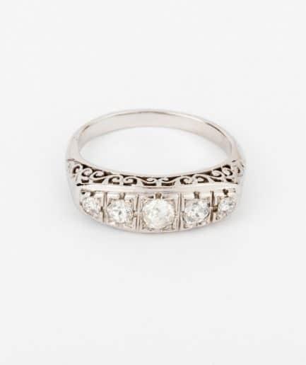 """Bague jarretière ancienne diamants """"Faro"""" Bague Ancienne Platine Bijoux Anciens - Caillou Paris"""