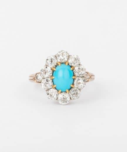 """Bague marguerite turquoise diamants """"Moorea"""" Bague Ancienne Platine Bijoux Anciens - Caillou Paris"""