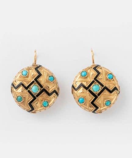 """Boucles d'oreilles anciennes or turquoises """"Aztec"""" Bijoux Anciens - Caillou Paris"""