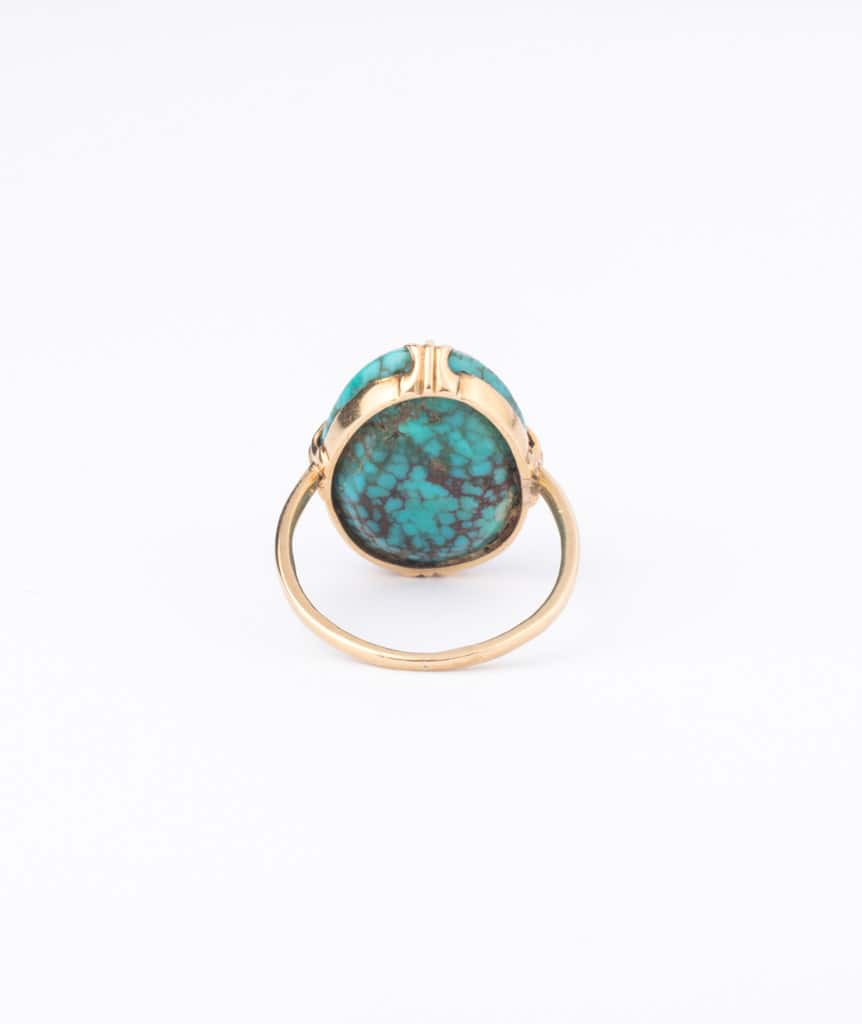 """Bague ancienne turquoise """"Tama"""" dos"""