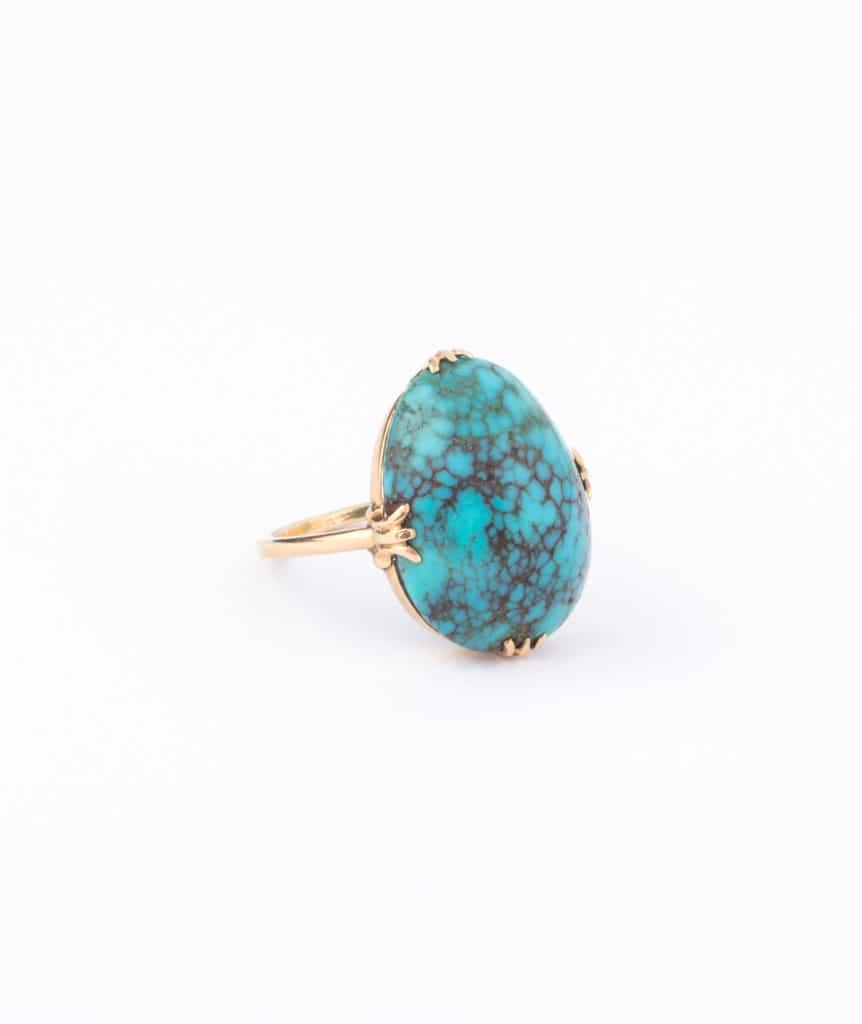 """Bague ancienne turquoise """"Tama"""" droite"""